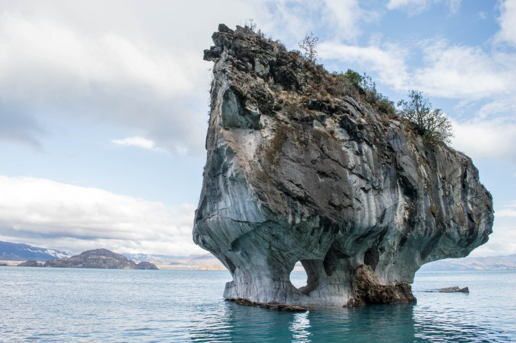 The kaladescopic colours of Lago General Carrera and the Marble Caves, near Puerto Rio Tranquilo on the Carretera Austral.