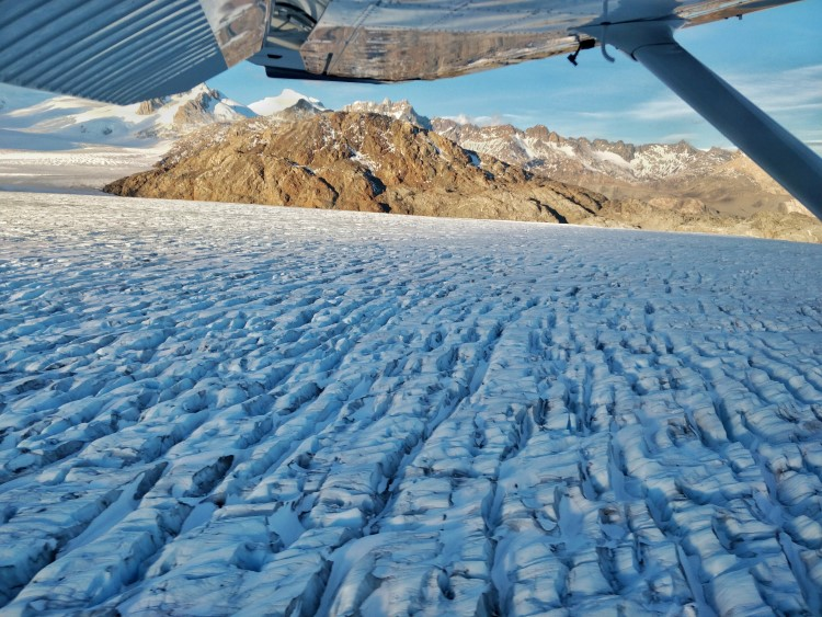 Flying over the O'Higgins Glacier in Patagonia.