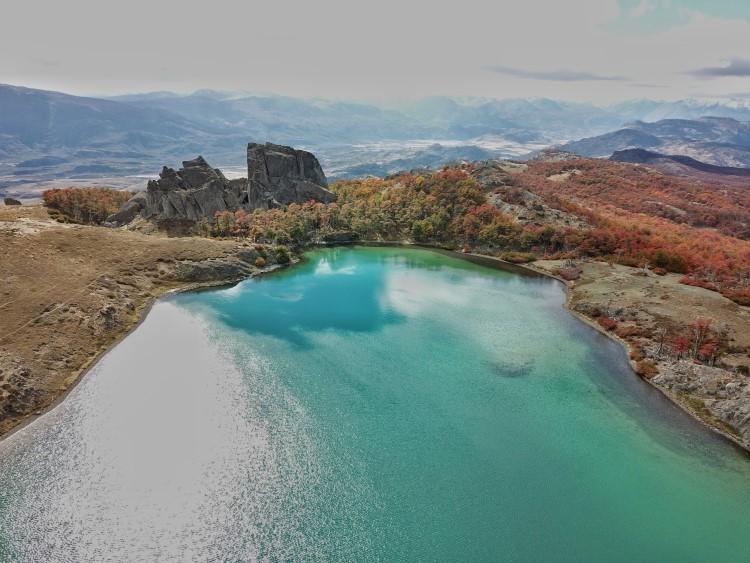 Mountain-top lagoons along the Lagunas Altas trail in Patagonia National Park.