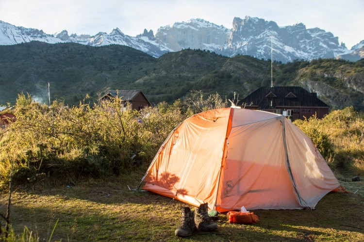 Big Agnes Copper Spur backpacking tent pitched in Torres del Paine National Park, Patagonia