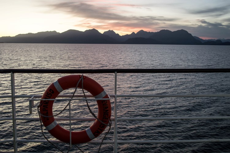 Sunset looking across the Patagonian waters aboard the Navimag ferry