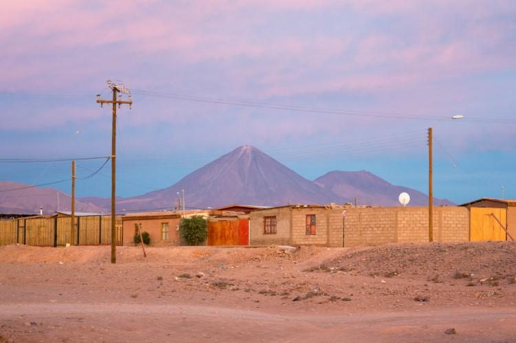 Sunset over San Pedro de Atacama and the Licancabur Volcano
