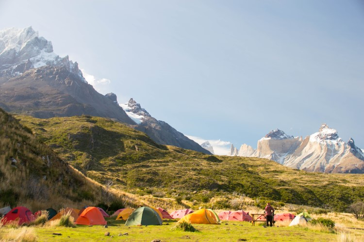 Tents in the Paine Grande campsite in Torres del Paine, on the W hike Patagonia
