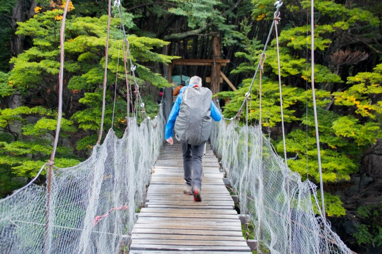 A drawbridge over a river on the Torres del Paine W hike Patagonia