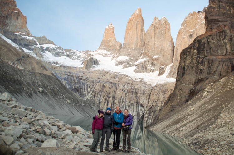 The torres on the W circuit in Torres del Paine National Park at dawn, a hike that you can fit into a one week Patagonia travel itinerary