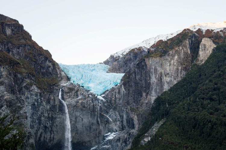The cobalt blue ice of the Queulat Hanging Glacier, a destination you can reach as part of a Patagonia itinerary for one week or two weeks