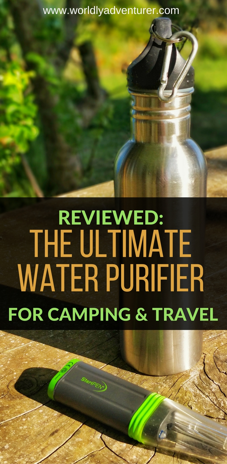 Read this expert review of the Steripen Adventurer, a portable water purifier ideal for backpacking, hiking and camping and other situations where you need safe, drinkable water fast. #waterfiltercamping #sawyer #steripen #bestwaterpurifier