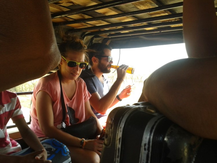 Hitchhiking in the back of a truck in South America
