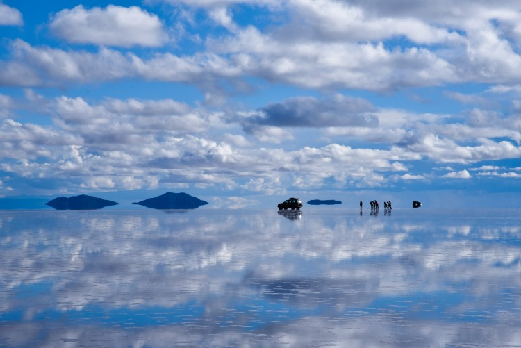The Bolivian salt flats in the rainy season, from December through March.