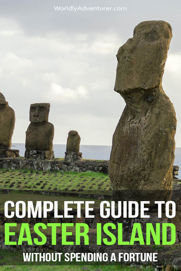 Think a trip to Easter Island is out of your price range? Think again: this guide shows you how to get cheap flights and has all the accommodation, dining and transport information you need for exploring Chile's most mysterious and fascinating island. #easterisland #isladepascua #travelchile #chile #worldlyadventurer #southamerica #southamericatravel #budgettravel #adventuretravel