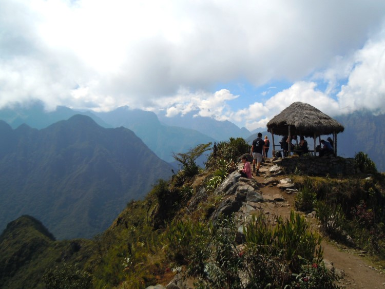 A sheltered viewpoint at the Choquequirao ruins.