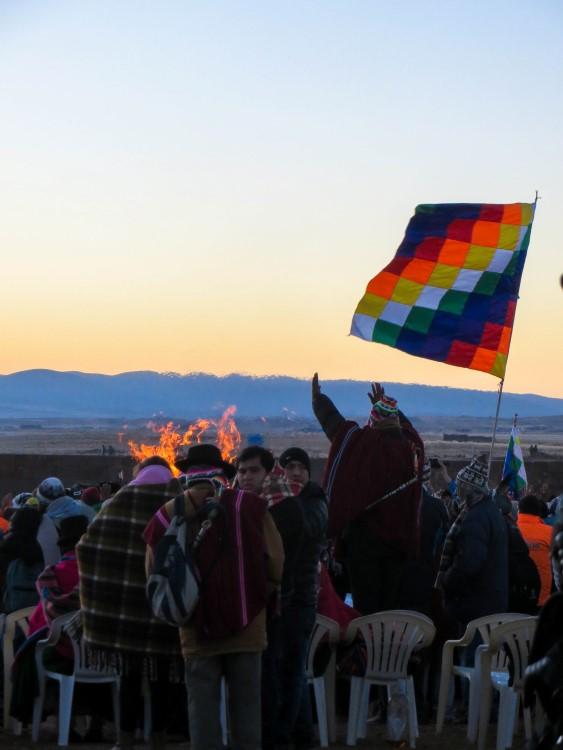 The Aymara New Year celebrations held in the Tiwanaku archeological ruins.