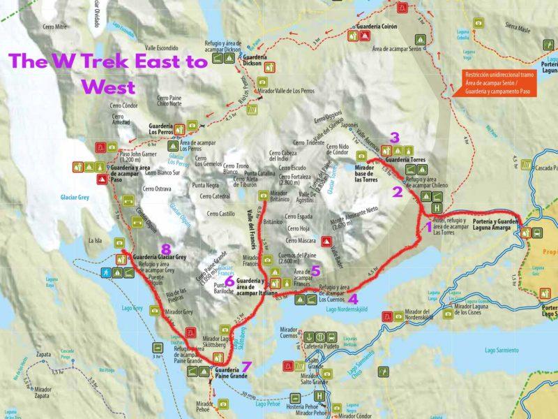 Torres del Paine map, W trek going east