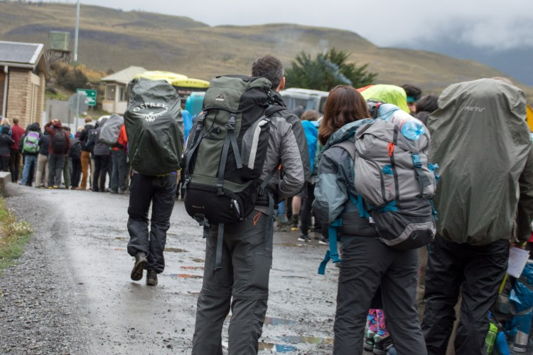 Hikers queuing up to enter the park at the Laguna Amarga entrance, Torres del Paine National Park