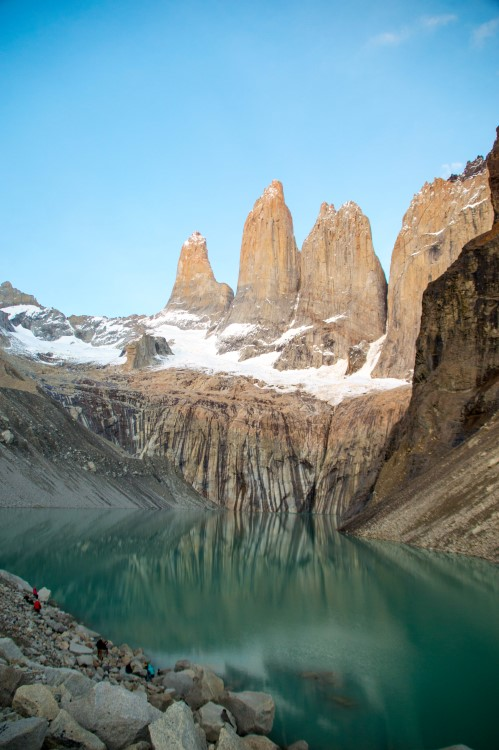 The towers of Torres del Paine National Park at dawn