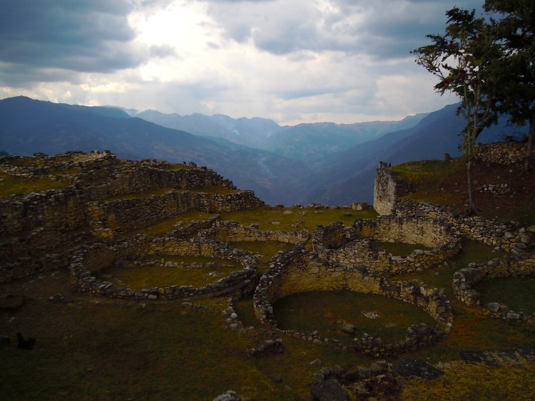 The original circular stone houses of the Kuelap citadel near Chachapoyas Peru