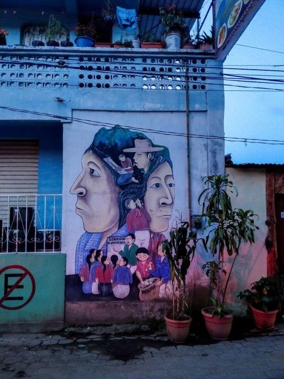 Mayan-inspired murals in the streets of San Juan La Laguna, Lake Atitlan