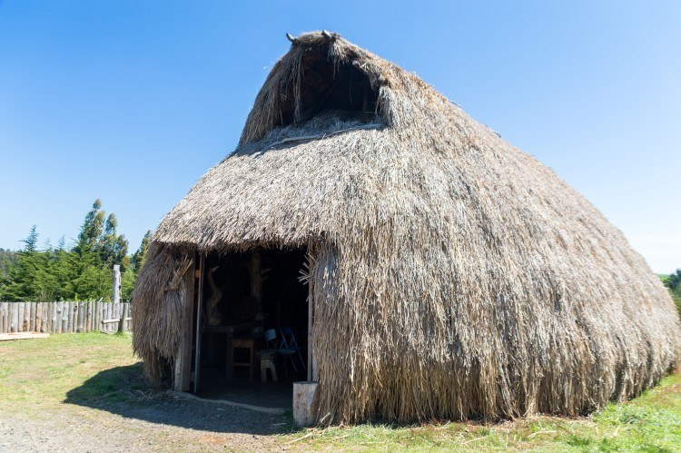 A traditional mapuche ruka in the Llaguepulli community of Lago Budi.