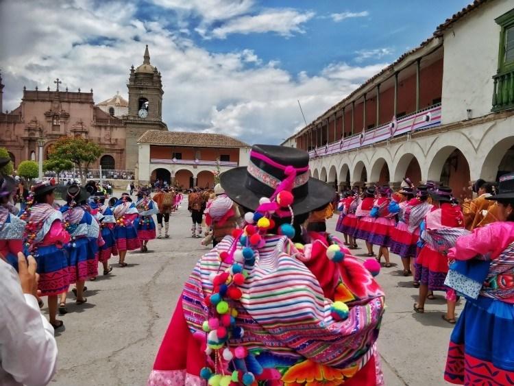 A carnaval parade through the streets of Ayacucho Peru