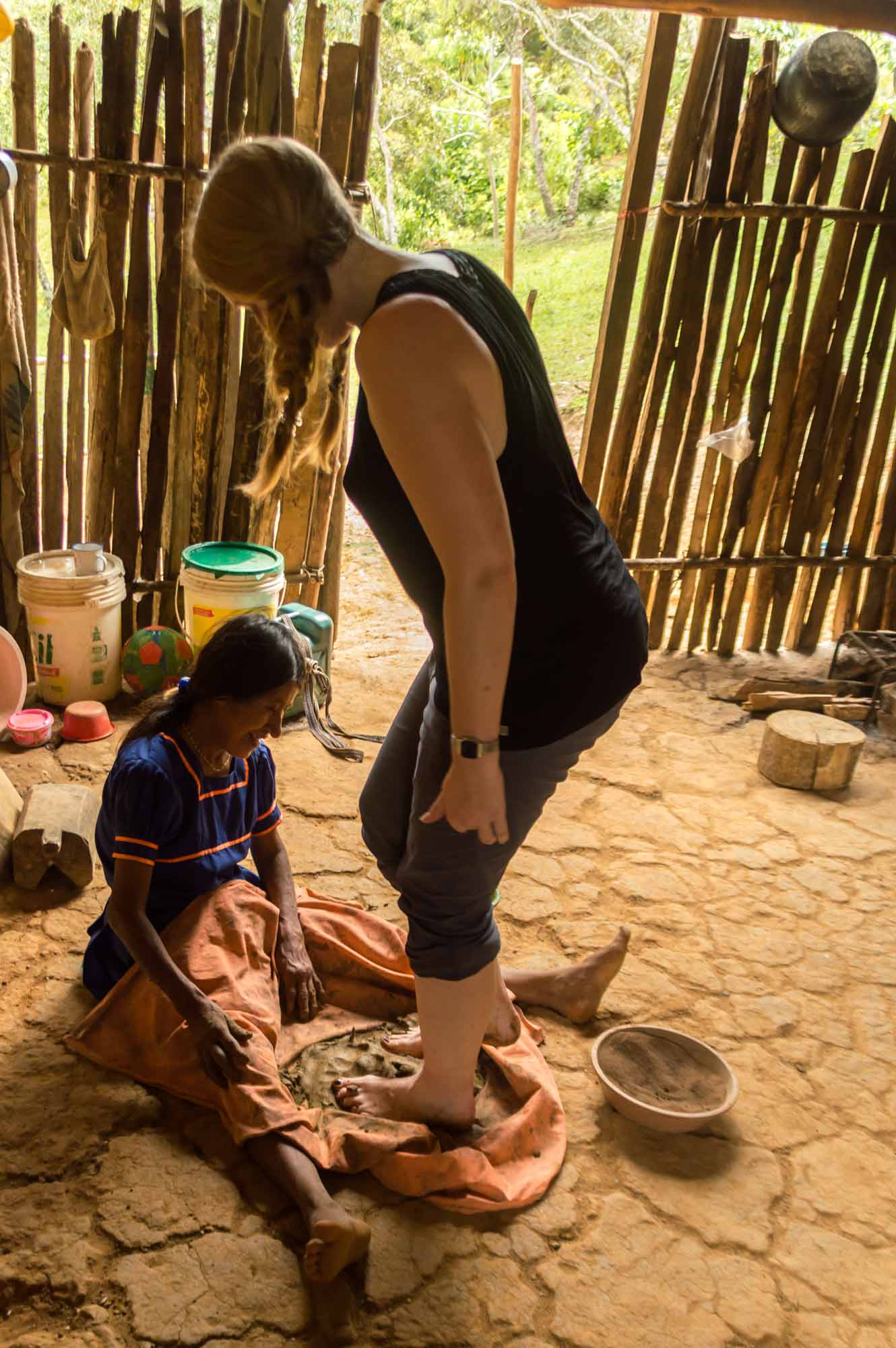 Mixing up clay for pottery with a local woman from an indigenous village near Tarapoto and an excellent sustainable tourism project to support