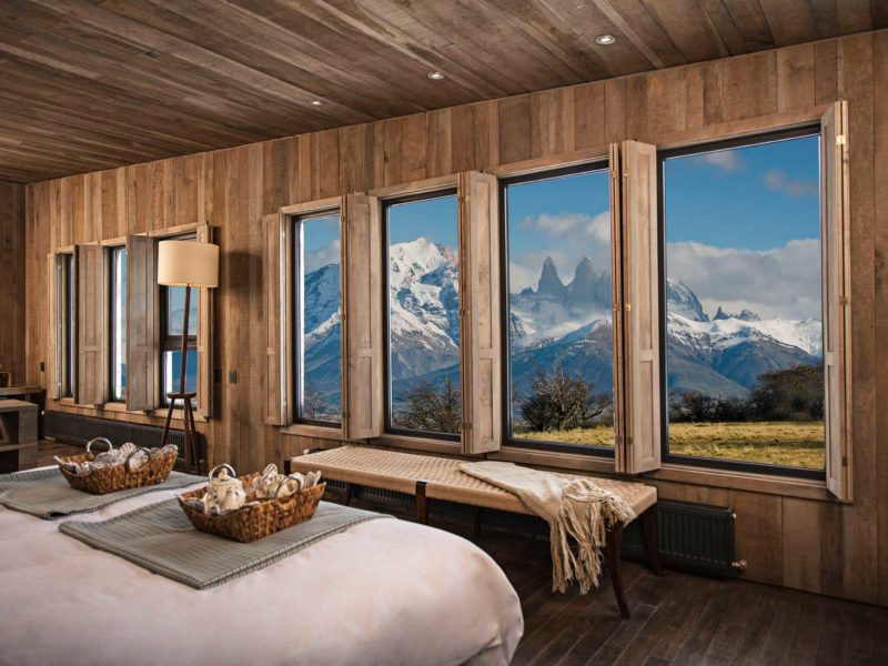 The views of the towers from a bedroom in the exclusive Awasi, one of the top Torres del Paine hotels in Chilean Patagonia