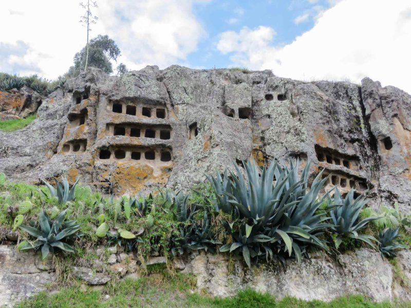 The Ventanillas de Otuzco, a series of niches carved into the volcanic rock near Cajamarca and an important place to visit in Peru