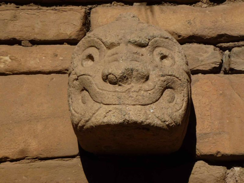 One of the relief carvings on a feline deity at Chavin de Huantar, Peru