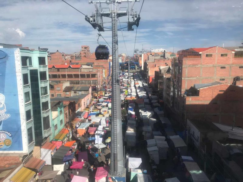 El Alto market in La Paz, Bolivia as seen from the blue teleferico line and a great option of things to do in the city