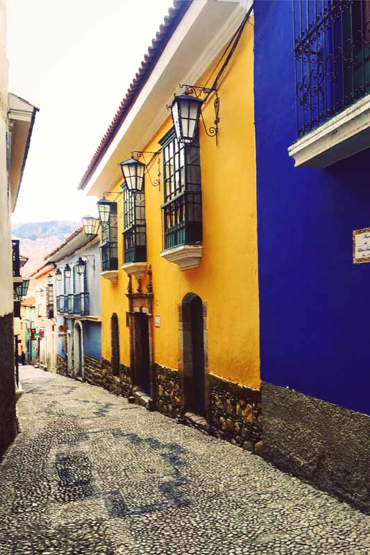 The picturesque house fronts of Calle Jaen - a pretty tourist attraction right in the heart of La Paz