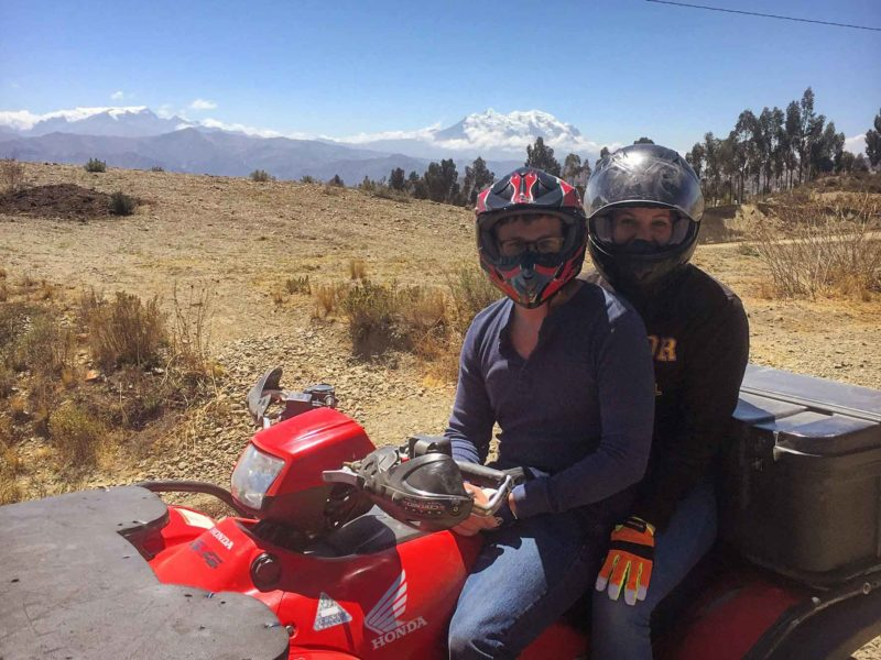 On a quad bike for one of the most unique things to do in La Paz, Bolivia: a four-wheeler tour