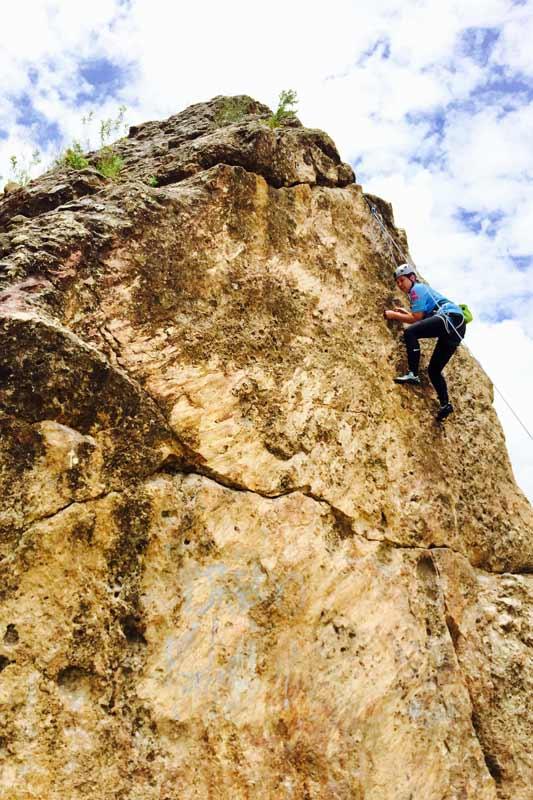 Rock climbing near Iglesia Amor de Dios, just outside of La Paz, Bolivia