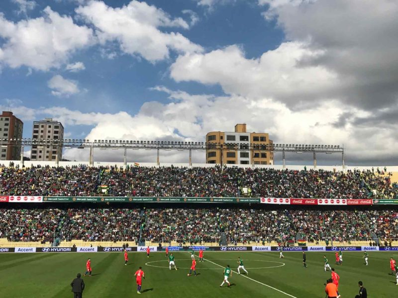 Bolivia plays Chile at home in an international game at the Hernando Siles stadium, an unmissable thing to do in La Paz, Bolivia