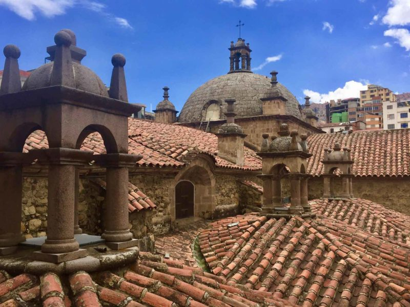 The rooftops of the San Francisco Basilica in La Paz, Bolivia