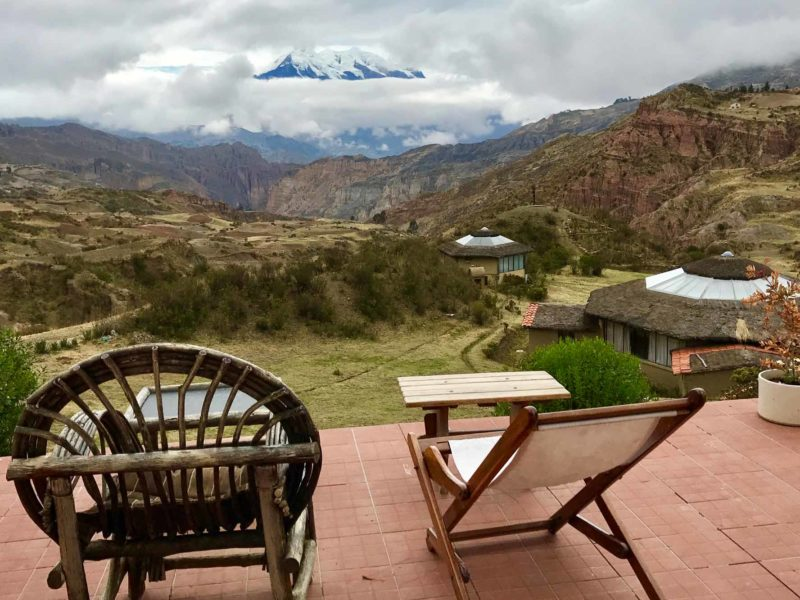 Views of Illimani peeping through the clouds from the terrace of Allkamari EcoResort