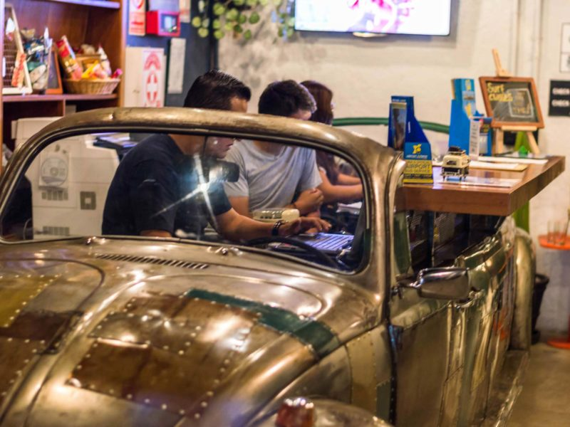 The front desk of Selina, the place where to stay in Lima, operates out of a refurbished VW beetle.