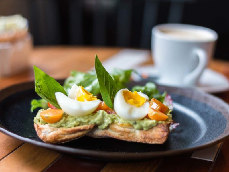 Avocado toast served at the cafe in Selina, Lima, a great place for breakfast