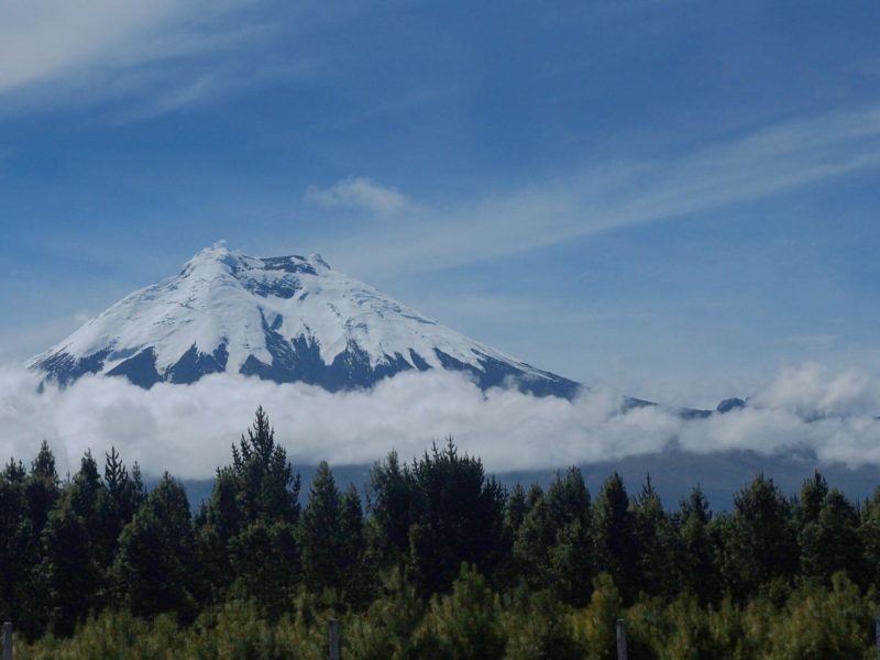 The glacier covered volcano of Cotopaxi shows above the clouds and forests of Ecuador. One of the best treks in South America.