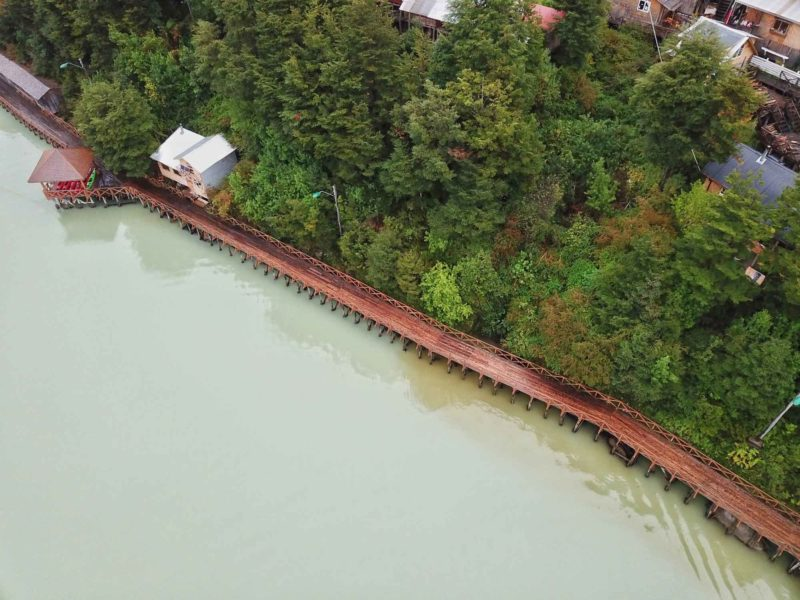 An aerial view of the wooden boardwalks in Caleta Tortel, along the Carretera Austral