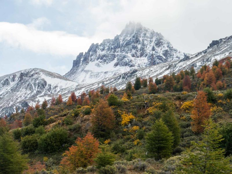 A shot of the main mountain in Cerro Castillo National Park, taken from along Chile's Carretera Austral