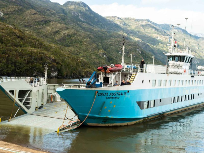 The blue Crux Australis ferry from Puerto Natales to Caleta Tortel