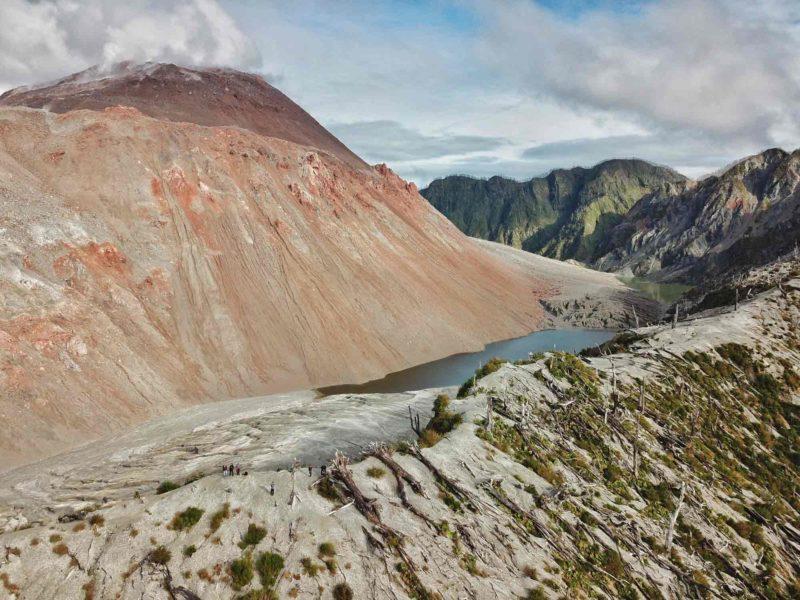The red Volcan Chaiten in Pumalin National Park, near Chaiten