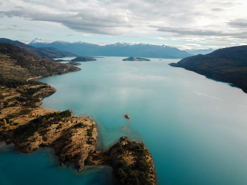 Aerial shot of Lago General Carrera along Patagonia's Carretera Austral