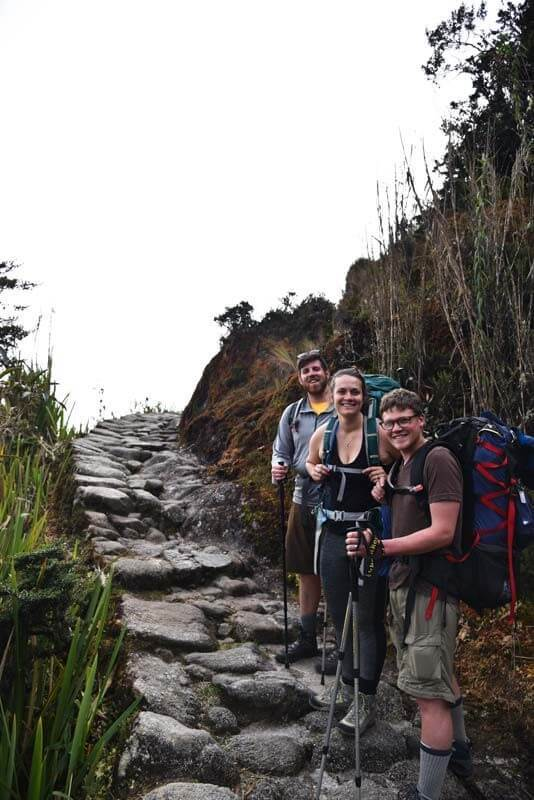 Hikers along the Inca Trail pause for a breath and a photo.