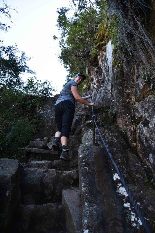 Looking up the steep stairs of Huayna Picchu, a possible add-on to your hike along the Inca Trail.
