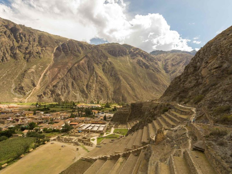 Wild mountains overlook the Sacred Valley of  Ollantaytambo along these South America Backpacking Routes