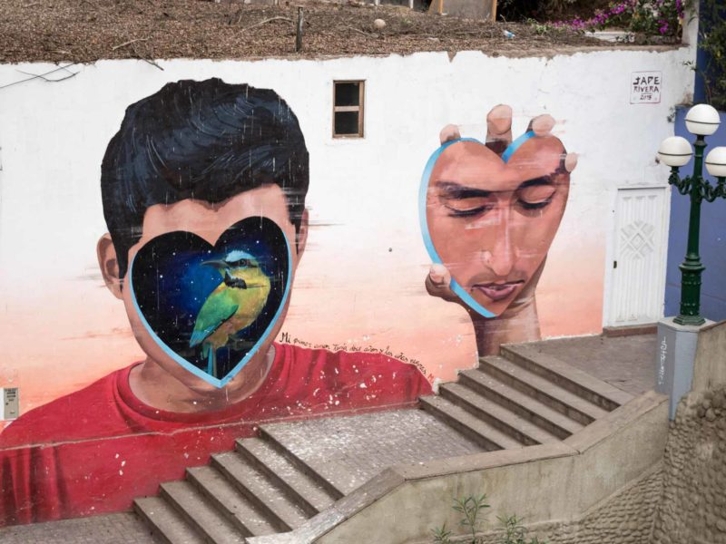 Beautifully painted Street Art is common in Lima Peru on these South America Backpacking Routes