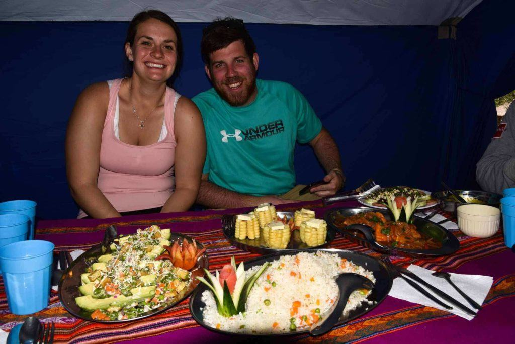 Food available on the inca trail