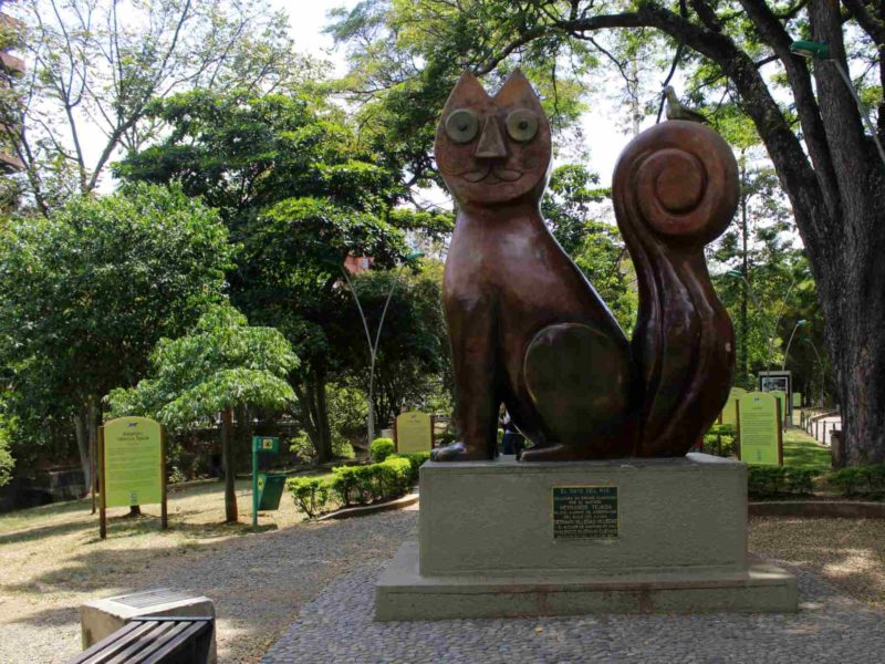 One of many cat sculptures in Cali Colombia.