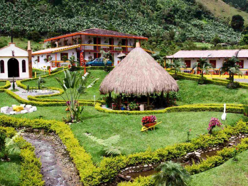 A garden in the hillside town of Jardin Colombia.
