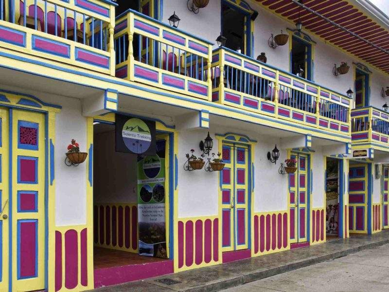 The colorfully painted buildings of Salento Colombia.